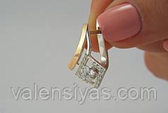 Украшения из серебра с золотыми вставками - серьги и кольцо, фото 3