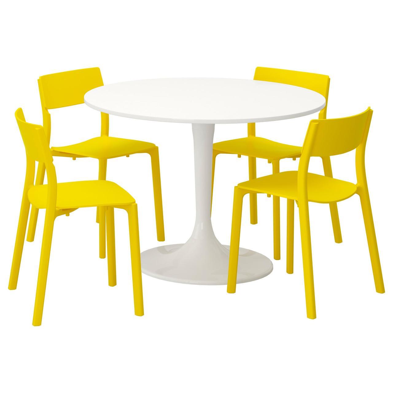 Комплект для кухни (стол и 4 стула) IKEA DOCKSTA / JANINGE 105 см белый желтый 592.297.98