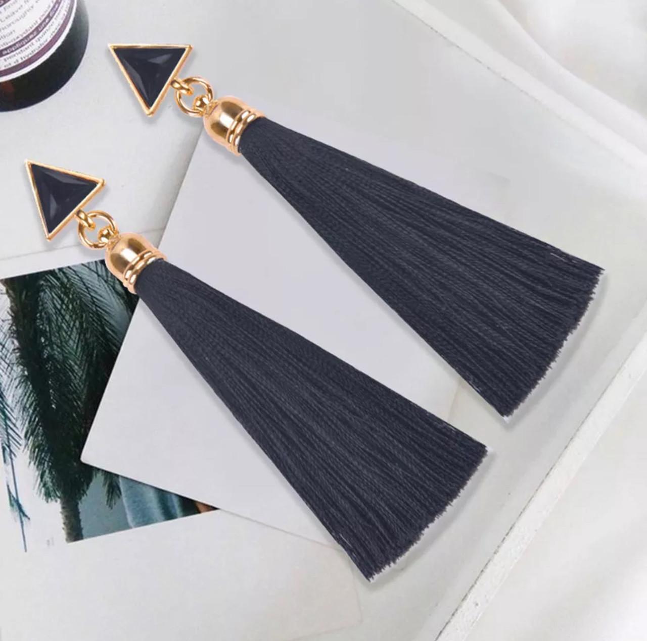 Серьги/сережки женские длинные кисточки из ниток с подвеской «Art deco»(черный)