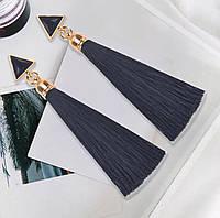 Серьги/сережки женские длинные кисточки из ниток с подвеской «Art deco»(черный), фото 1
