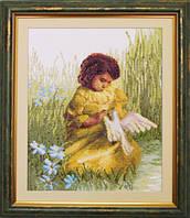 """Набор для вышивки крестиком Чарівна Мить №484 """"Девочка с голубем"""""""