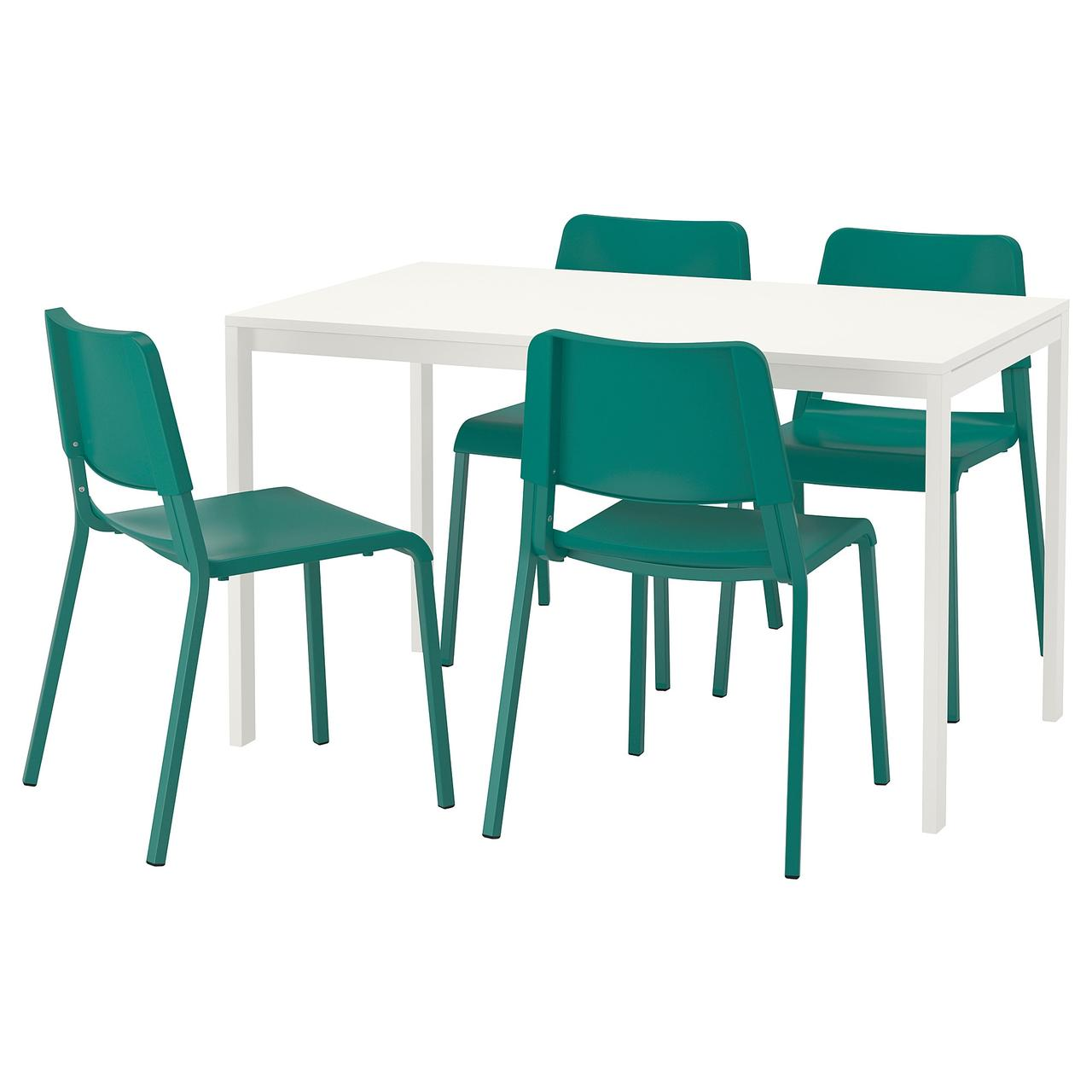 Комплект для кухни (стол и 4 стула) IKEA MELLTORP / TEODORES 125 см белый зеленый 592.521.66