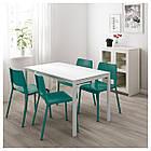 Комплект для кухни (стол и 4 стула) IKEA MELLTORP / TEODORES 125 см белый зеленый 592.521.66, фото 2