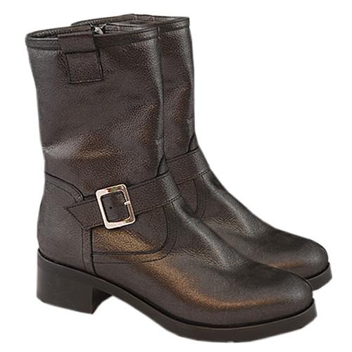 Ботинки кожаные женские демисезонные на маленьком каблуке, декорированы ремешком
