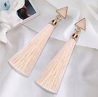 Серьги/сережки женские длинные кисточки из ниток с подвеской «Art deco»(белый)