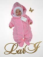 Зимний комбинезон с шапочкой для новорожденного (розовый), фото 1