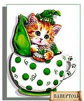"""РТ150095 Набор для создания объемной картины из бумаги (папертоль) """"Кото-чашка Горошек"""""""