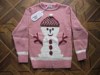 Детский теплый   вязаный свитер  Снеговичок для девочки  7-8 лет   Турция