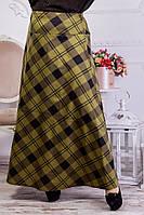 Женская трикотажная юбка в пол батал хаки