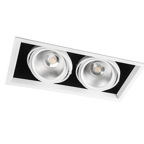 Светильник карданный светодиодный двойной 30w Feron AL212 2*COB 4000К черный в белой рамке