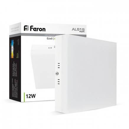 Светильник светодиодный накладной квадратный 24w Feron AL515 5000К, фото 2