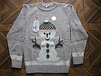 Модный теплый вязаный  свитерок Снеговичок для девочки подростка  152 см   Турция