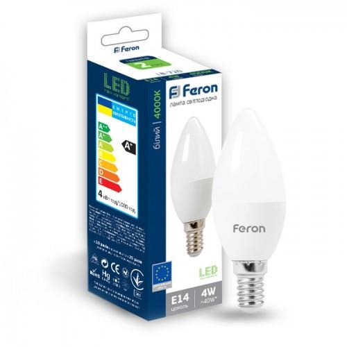 Светодиодная лампа свеча Е14 4W 2700К и 4000К Feron LB-720