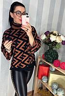 Модный свитер с крупным принтом, фото 1
