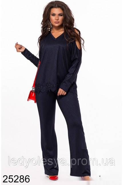 57199bee640 Нарядный брючный костюм женский синий и черный - Леди Олеся- интернет  магазин качественной и не