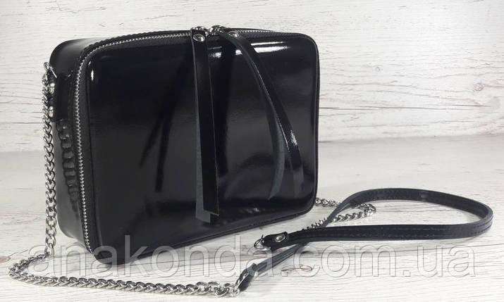 61-4 Натуральная кожа, Сумка женская кросс-боди, черная глянец вечерняя сумочка Сумка cross-body кожаная, фото 2