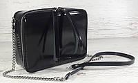 61-4 Натуральная кожа, Сумка женская кросс-боди, черная глянец вечерняя сумочка Сумка cross-body кожаная