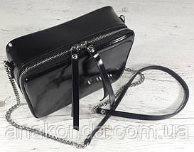 61-4 Натуральная кожа, Сумка женская кросс-боди, черная глянец вечерняя сумочка Сумка cross-body кожаная, фото 3