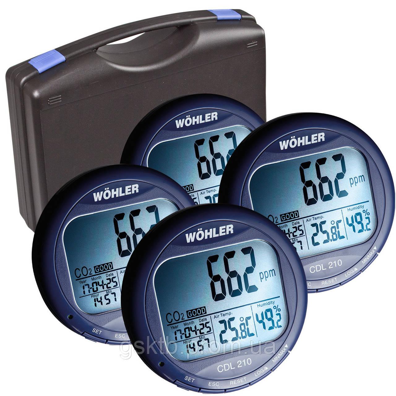 Регистратор температуры, влажности и СО2 WÖHLER CDL 210 (Германия)