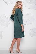 Женское осеннее платье миди Арабика / размер 52-62 / большие размеры цвет бутылка, фото 2