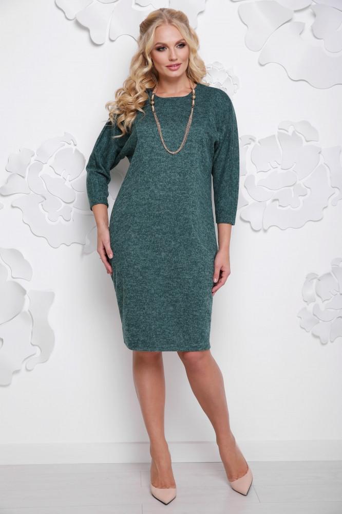 Женское осеннее платье миди Арабика / размер 52-62 / большие размеры цвет бутылка