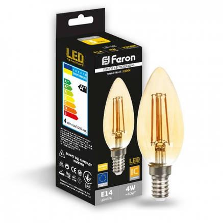 Светодиодная лампа свеча Е14 4w Feron LB-58 золото , фото 2