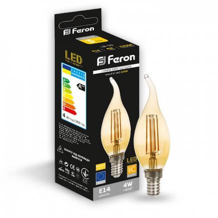 Светодиодная лампа свеча на ветру Е14 4w Feron LB-59 золото , фото 2