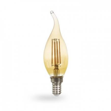 Светодиодная лампа свеча на ветру Е14 4w Feron LB-59 золото, фото 2