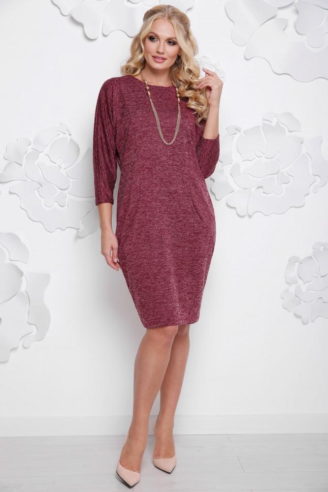 Женское осеннее платье миди Арабика / размер 52-62 / большие размеры цвет бордо