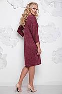 Женское осеннее платье миди Арабика / размер 52-62 / большие размеры цвет бордо, фото 2