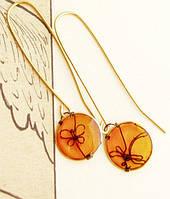 Золотые серьги со стрекозой и бабочкой