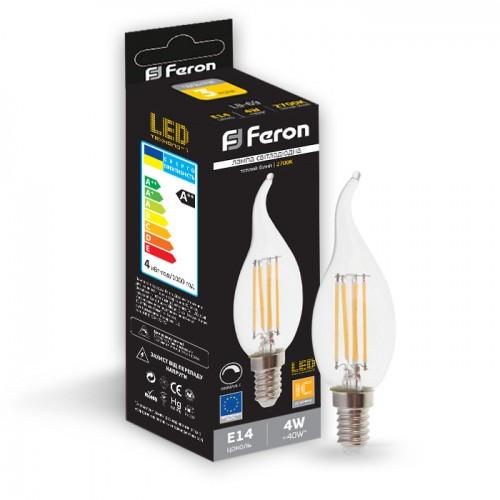 Светодиодная лампа свеча на ветру диммируемая Е14 4W Feron LB-69