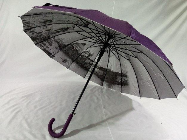 """Фиолетовый женский зонт """"города на серебре под куполом""""16 спиц"""