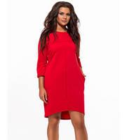 Повседневное платье для полных рукав три четверти красный 824133
