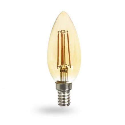 Светодиодная лампа свеча Е14 6w Feron LB-158 золото , фото 2