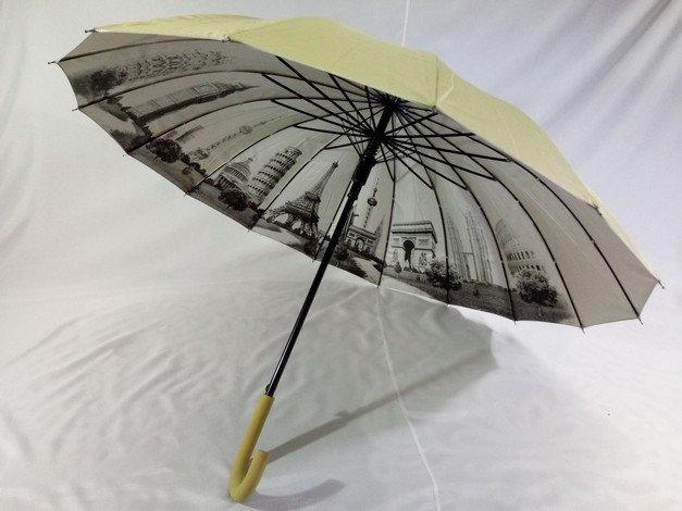 """Женский зонт """"города на серебре под куполом""""16 спиц цвет бежевый"""