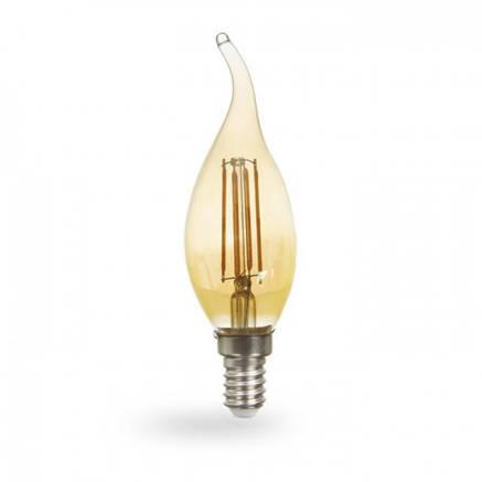 Світлодіодна лампа свічка на вітрі 6w Feron LB-159 золото, фото 2