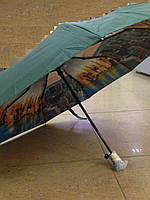 Зонт женский 9 спиц  автомат с двойным куполом города зеленый, фото 1