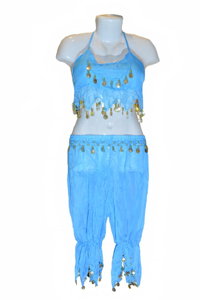 Костюм для восточных танцев голубой Фото 1