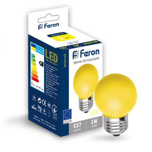 Светодиодная лампа 1w G45 E27 Feron LB-37 желтая