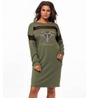 Батальное платье-туника с длинным рукавом хаки 824174