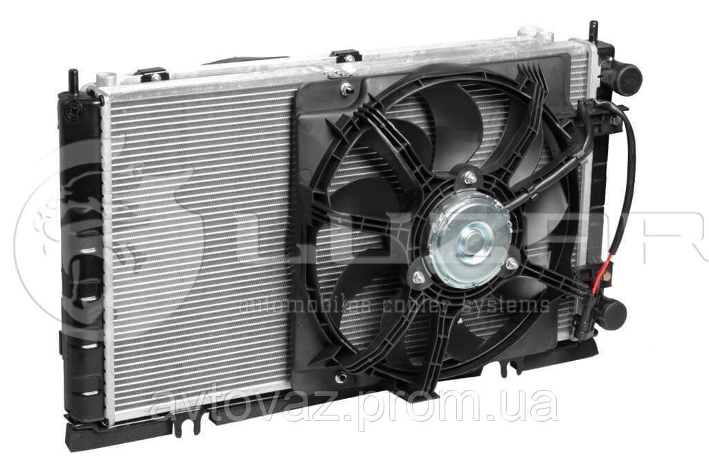 Радиатор Panasonic ВАЗ 2170, 2171, 2172 Приора (радиатор кондиционера+вентиляторы)(LRK 01272) ЛУЗАР