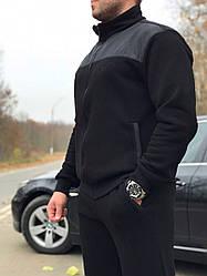 Утепленный мужской спортивный костюм, на байке, черного цвета от производителя