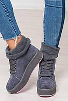 Теплі кеди Patsy на шнурівці, натуральна замша з довязом, утеплювач хутро, фото 1