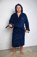 Мужской махровый халат длинный с капюшоном
