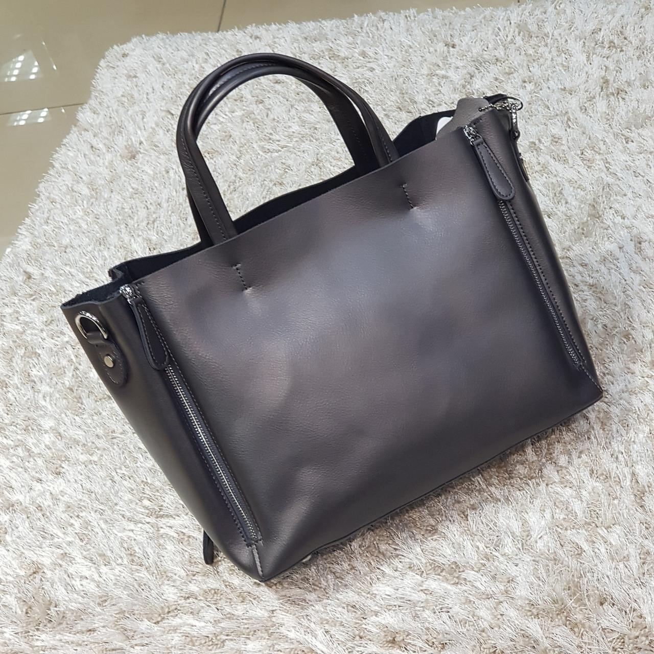 Сіра жіноча сумочка з натуральної шкіри