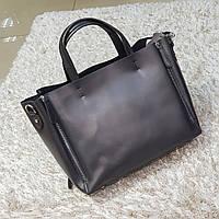 Сіра жіноча сумочка з натуральної шкіри, фото 1