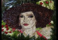 Портрет из живых цветов. Оригинальный подарок. VIP подарок - портрет из цветов.