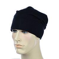 Тонкая х/б  шапка черный