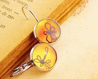 Серебряные серьги с бабочкой и стрекозой от WickerRing